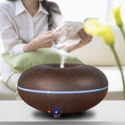 Essential Oil Ultrasonic Air Humidifier Mini LED Night Light Electric Aroma Diffuser Wood Grain Home Aromatherapy Diffuser