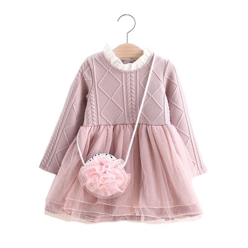 MBBGJOY 2-6years Tricoté Robe Bébé Hiver Automne Enfants Tutu Robes à manches longues Bébé Fille Enfant En Bas Âge Vêtements Tricot Maille