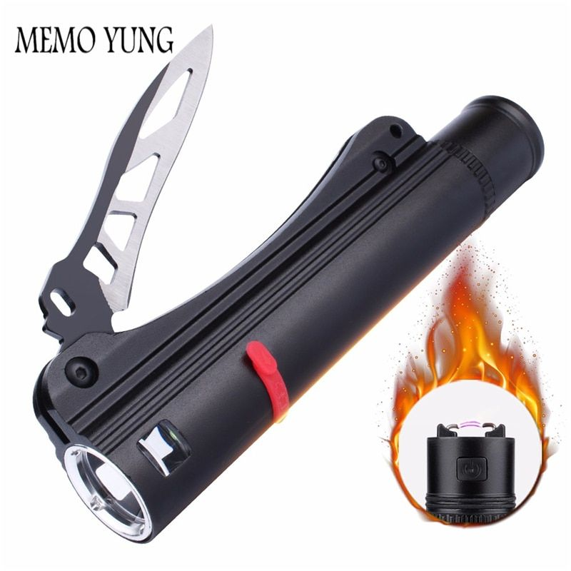 SKYFIRE Waterproof LED Flashlight with Rechargeable 18650 led battery self defense Knife USB charger and Arc Fire Lighter