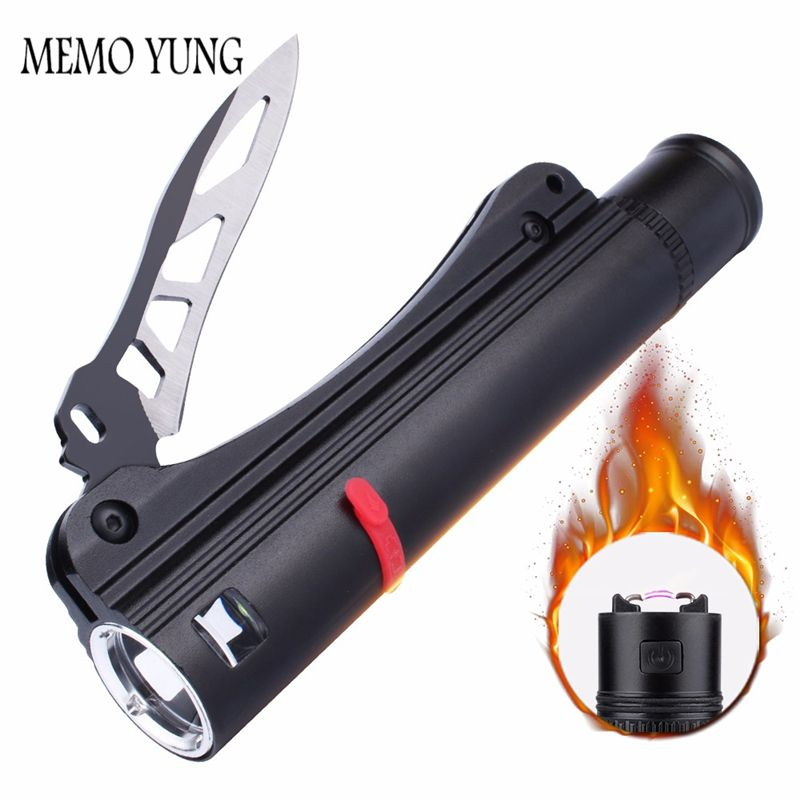 SKYFIRE Waterproof LED Flashlight with Rechargeable 18650 led battery self defense Knife USB <font><b>charger</b></font> and Arc Fire Lighter