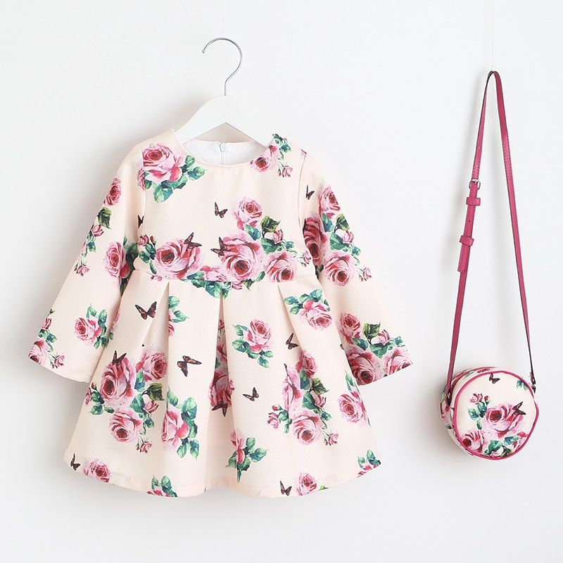 Girls Dress Unicorn Party <font><b>Children</b></font> Clothing Princess Dress with Bag 2018 Baby Clothes Kids Flower Dresses for Girls Costumes
