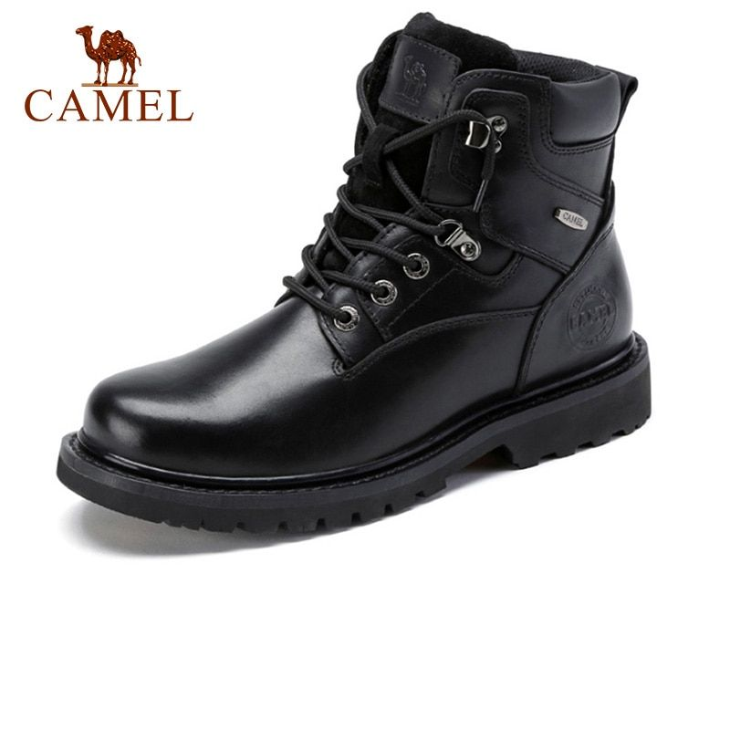 CAMEL Genuine Leather Men's Boots Winter High-top Man Cowhide Outdoor Casual Martin Tooling Boot Male Botas Militares Negras