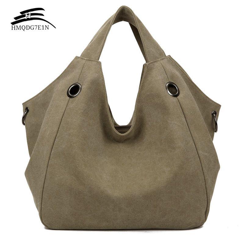 Promotin 100% contton femmes solide sac à bandoulière mode décontracté toile Hobos sacs à main de haute qualité grande capacité fourre-tout sacs