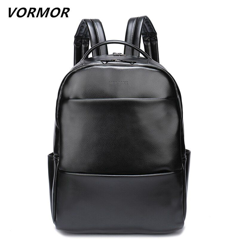 VORMOR Famous Brand Fashion Preppy Style Women Men School Backpack For Teenage Solid Black Leather Backpack Travel Backpack Bag