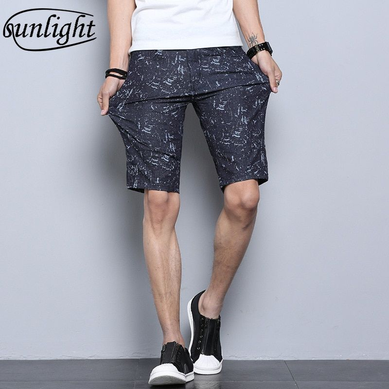 Men's Stretch Denim Shorts Male Summer Thin Section Pants Casual Fashion Youth Pants 5 Points Breeches Summer