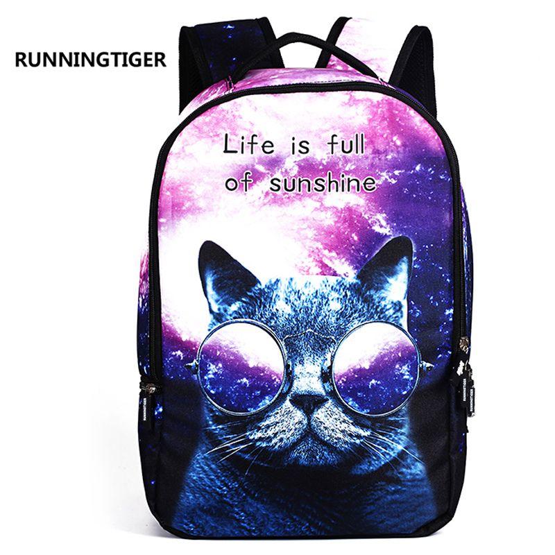 RUNNINGTIGER Women School Bag 3D Cartoon Cat School Backpack Bag For Girls Printing Backpack Travel Bags