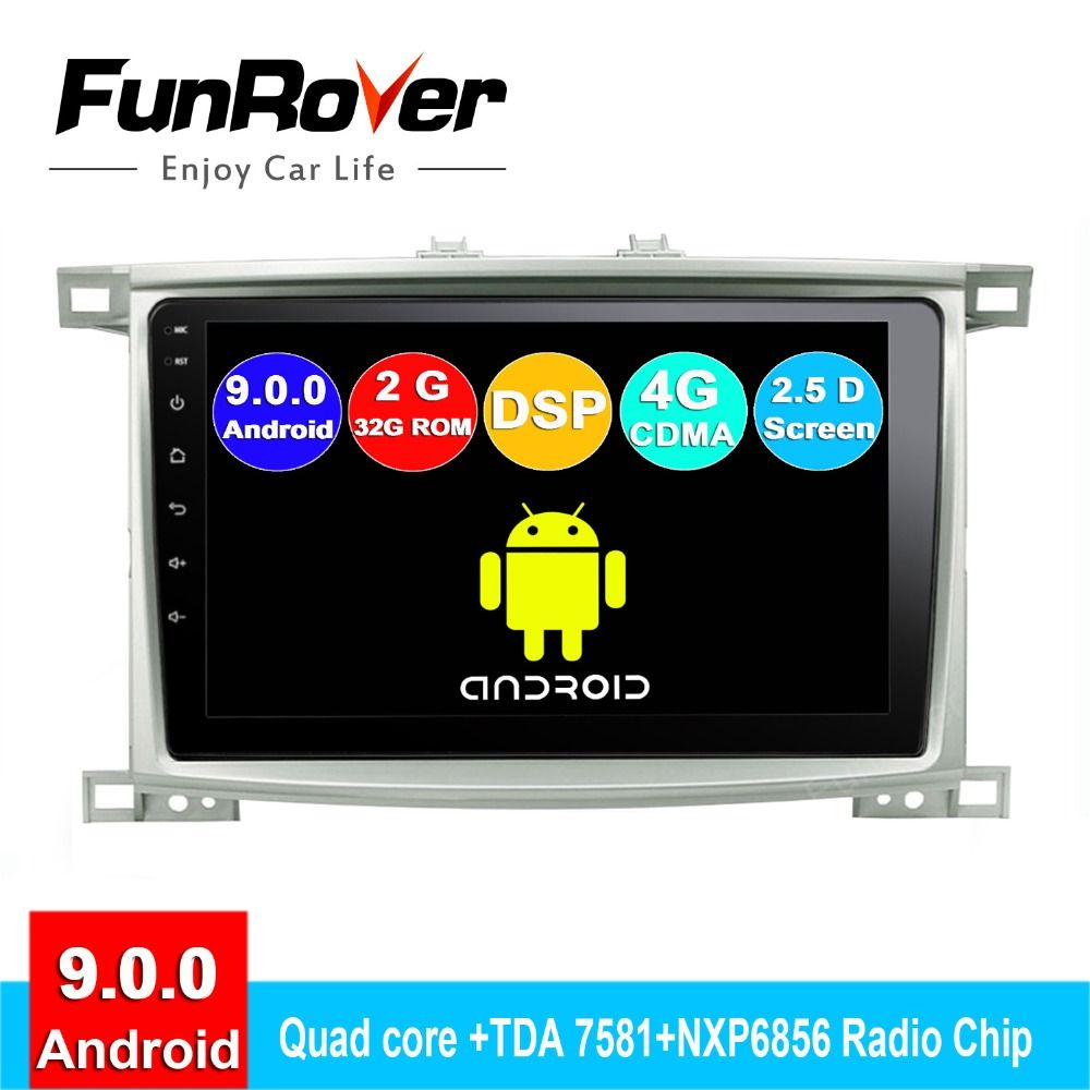 Funrover Android 9.0 2.5D + IPS auto radio Für Toyota Land cruiser 100 LC 100 Lexus LX4 dvd gps navigation system autoradio DSP RDS