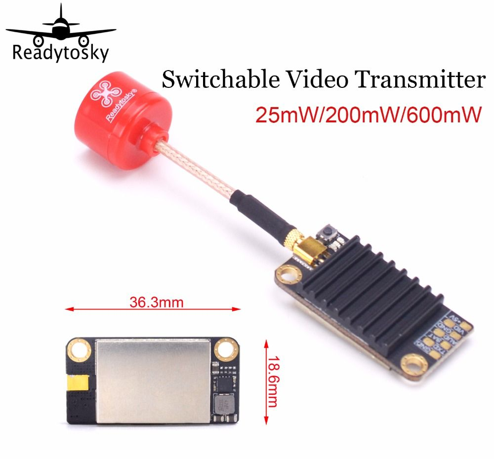 EXUAV 5.8G 48CH OFF 25mW 200mW 600mW Switchable Video Transmitter VTX Pro Lollipop 5.8G 2.3dBi RHCP MMCX Antenna For FPV Racing