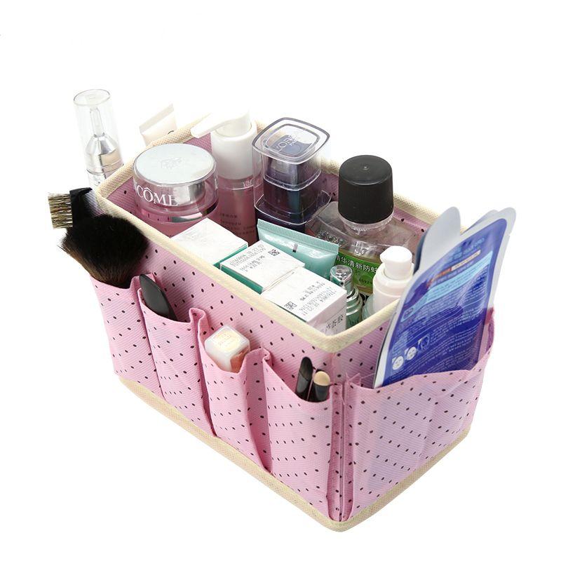 Mignon Points De Bureau Organisateur Cosmétique Maquillage Boîtes De Rangement Bacs Non-tissé Lavage Accessoires Boîtes