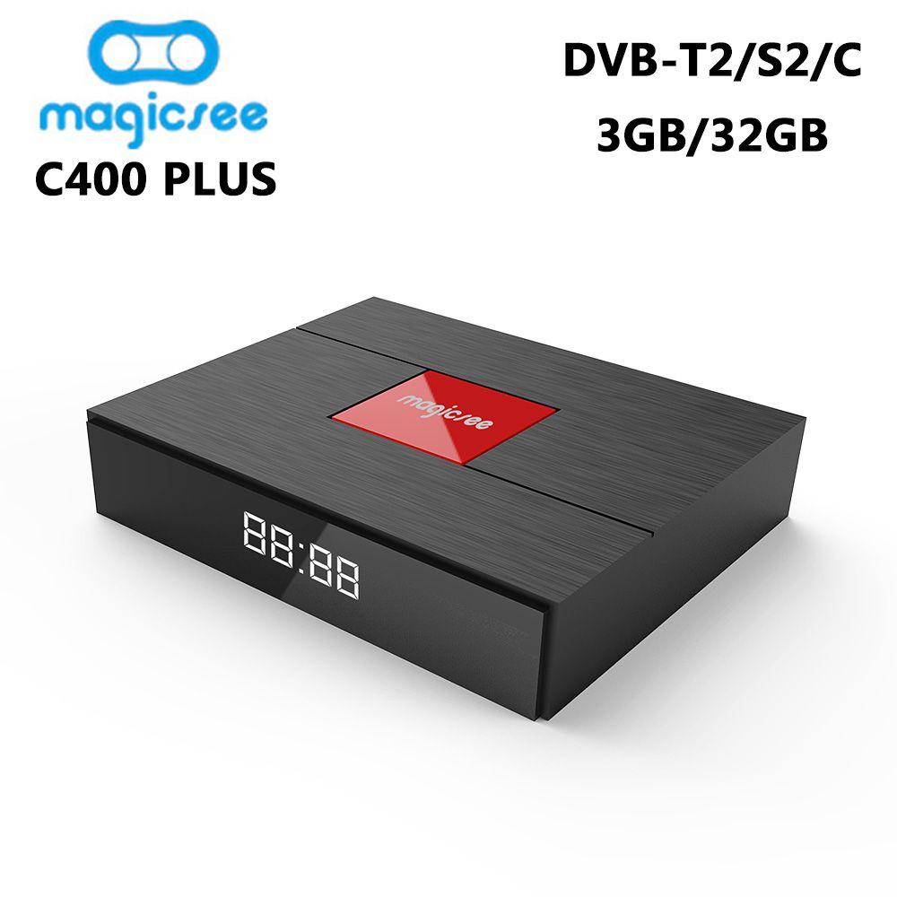 C400 Plus DVB-T2 DVB-S2 Smart TV Box Android 7.1 Amlogic S912 Octa Core 3GB 32GB 4K Set top Box DVB-C Media Player PK KIII PRO