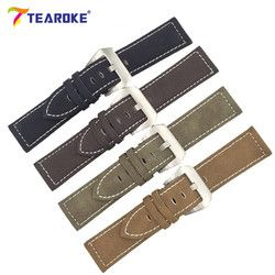 7 Color Handmade Matte Leather Watch Band Men Women 18mm 20mm 22mm 24mm Stainless Steel Buckle Strap for Panerai Watchband Brown