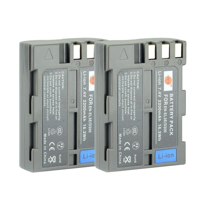 DSTE 2 pièces EN-EL3E en-el3e Batterie Rechargeable pour Nikon D70 D70S D80 D90 D100 D200 D300 D300S D700 Caméra