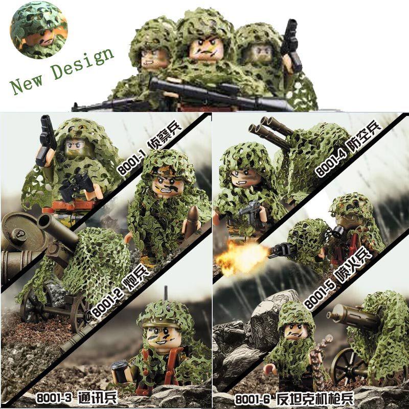 Date 6 pcs Militaire Attaque à Main Armée Camouflage Soldat Figures Building Block Set Arme Militaire Camouflage Net Modèle brique Jouet