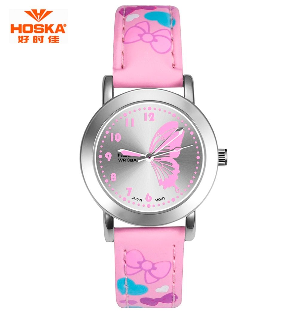 HOSKA Brand New Fashion Watch Children Color Strap Cute Butterfly Pattern Casual Wristwatch Designed for Girl EP Material Clock