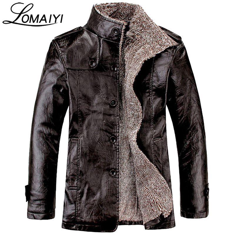 LOMAIYI NEW Plus Size M-8XL Men's Winter Leather Jacket Men Warm Thick Faux Fur Coat Mens Black Motorcycle PU Windbreaker,BM057