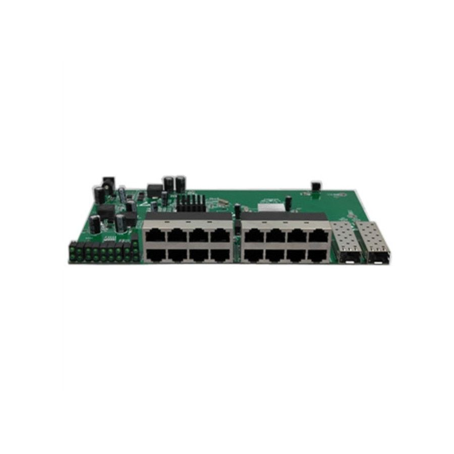 With VLAN GPON/EPON SOLUTION SUPPLIER 16 port 10/100M Reverse poe switch With 2 gigabit sfp port PCB