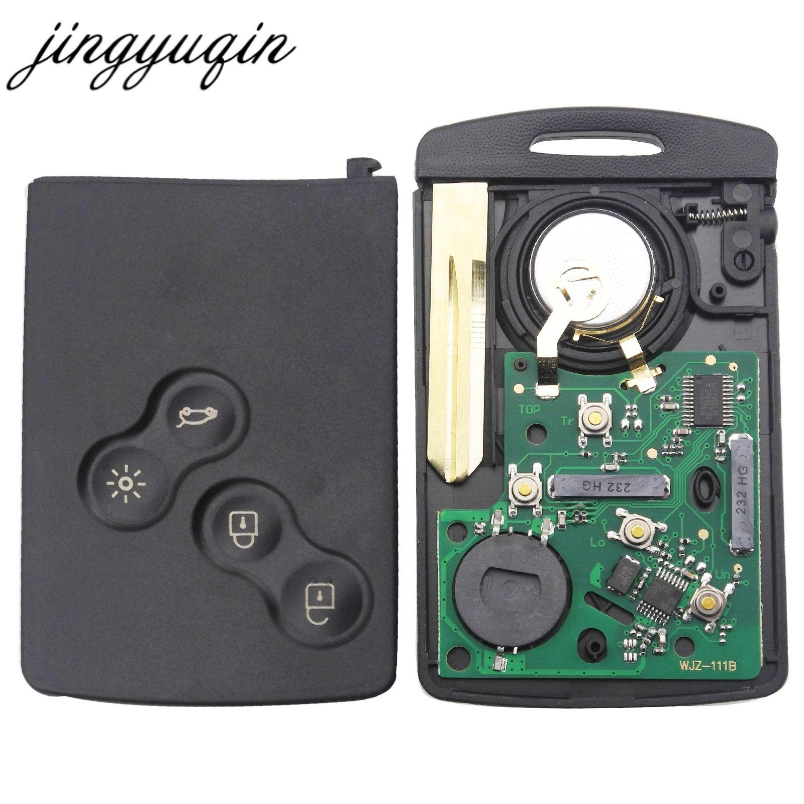 Jingyuqin Auto Schlüssel Karte Fob 433 mhz PCF7952 Chip für Renault Megane Scenic Laguna Koleos Clio Uncut Klinge 4 Taste remote Key