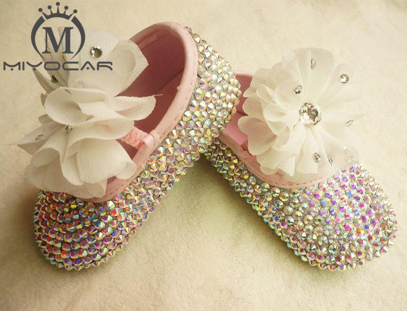 MIYOCAR Personalizada Impresionante colorido cristal rhinestone Niña zapatos de los niños Bling Diamante primer Caminante flor del cordón
