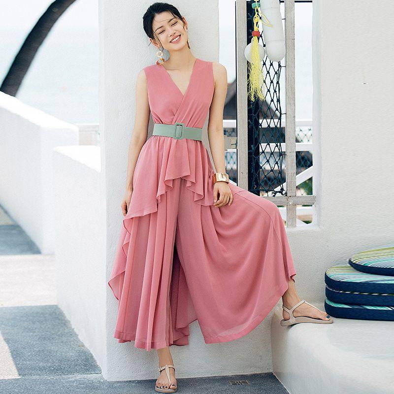 VERRAGEE frauen hemd + hose set 2018 sommer chiffon-sleeveless rosa blau asymmetrische zwei-stück set mit gürtel