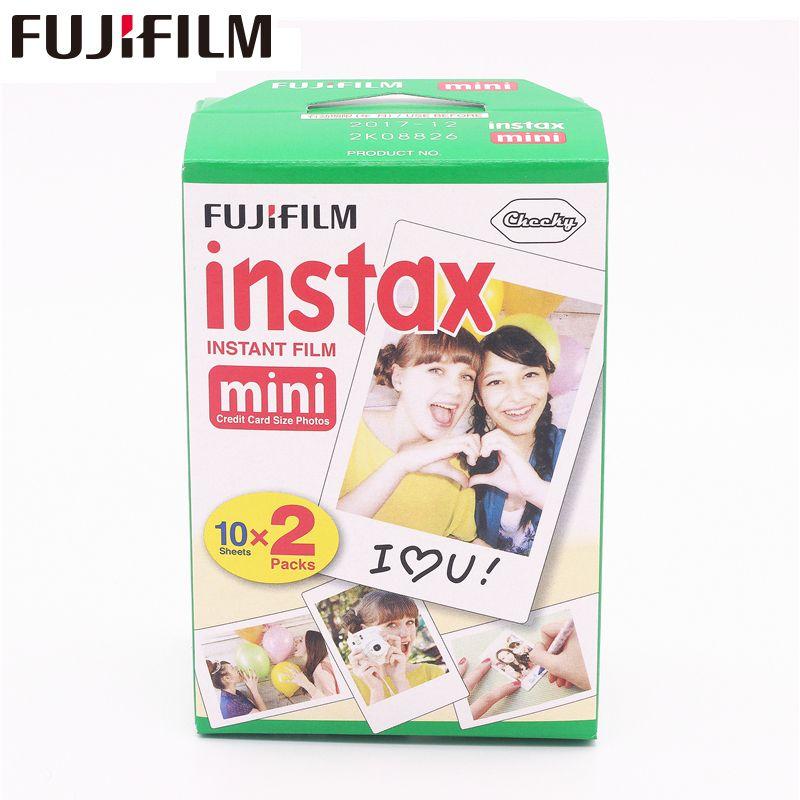 20pcs/box fujifilm instax mini 8 9 film 20 sheets for camera Instant mini 7s 25 50s 90 Photo Paper White Edge 3 inch wide film