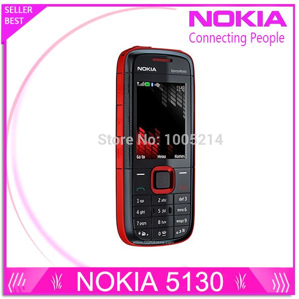 Refurbished Original Nokia 5130 XpressMusic Russian Keyboard Mobile Phone Musica Phone free shipping