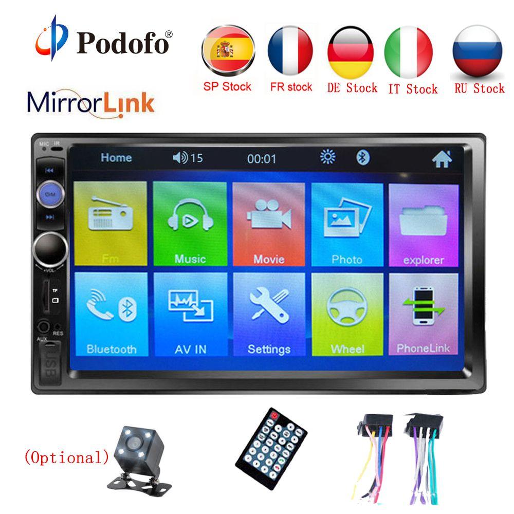 Podofo Autoradio 2 din 7 HD écran tactile multimédia lecteur MP5 2DIN Auto audio voiture stéréo Bluetooth USB TF FM caméra