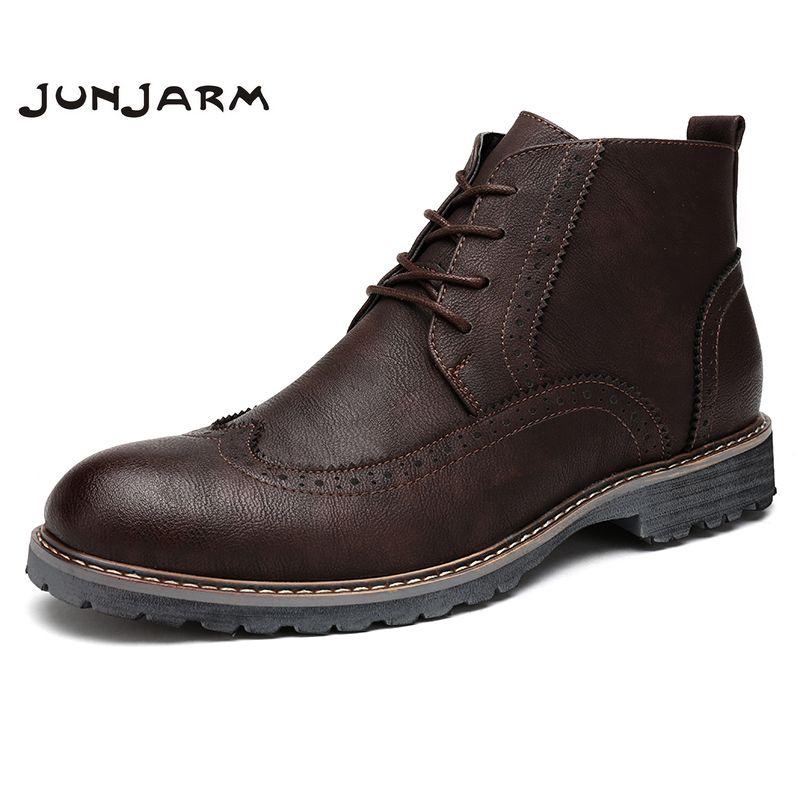 JUNJARM 2017 Men Boots High Quality Men Ankle Boots Lace-Up Casual Fashion Men Brogue Shoes British Style Winter Men Shoes