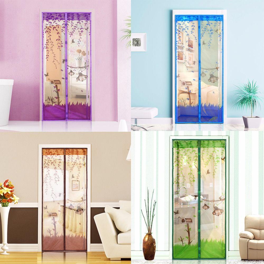 4 Farbe Vorhang Anti-mücken Magnetische Tüll Duschvorhang Tür Bildschirm Mesh Net Schutzhülle Fenster Sommer 90/100x210 CM