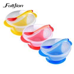 Fulljion Bowl Plate Baby Food Children's Tableware Set Feeding Cup Utensils Baby Plates For Kid Bpa Free Dinnerware Dishes Spoon