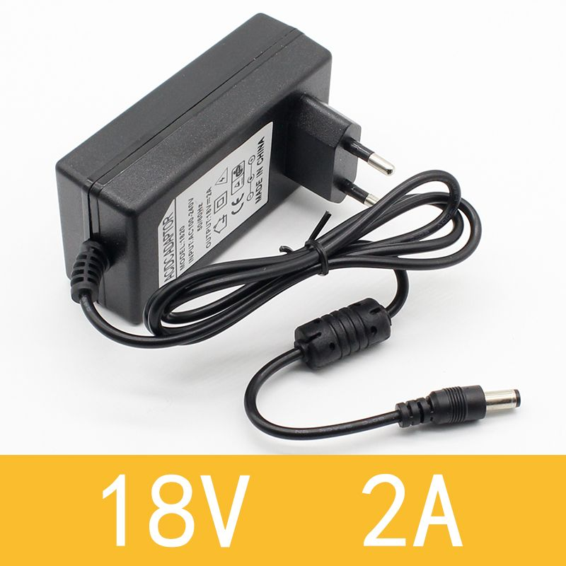 1PCS 18V 2A AC 100V-240V Converter Adapter DC 18V 2A 2000mA Power Supply EU Plug 5.5mm x 2.1-2.5mm
