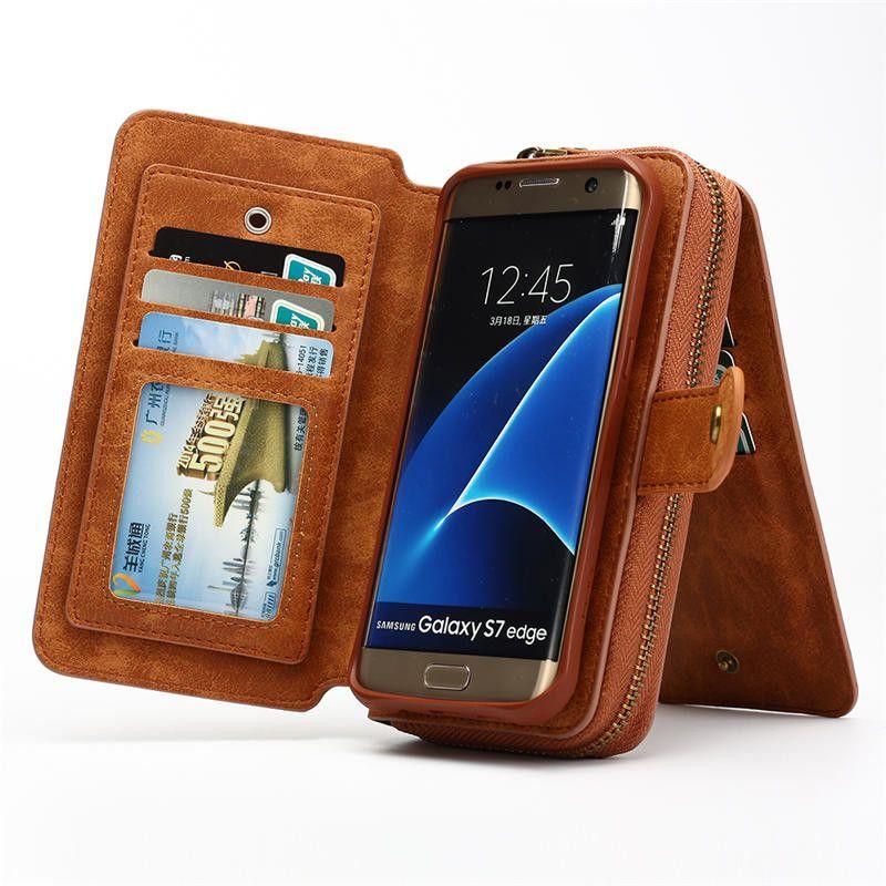 Multifunction Wallet phone Case For Samsung S4/5/6/7/s7/s8 EDGE/NOTE 4/5/8 for iphone 5 SE 6s plus 7 8 plus X Zipper Purse Pouch