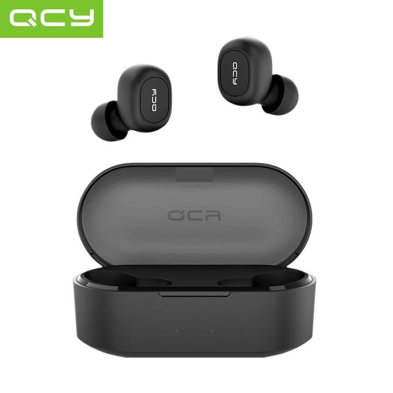 QCY QS2 TWS Bluetooth V5.0 casque sport sans fil écouteurs 3D stéréo écouteurs Mini dans l'oreille double Microphone avec boîte de chargement