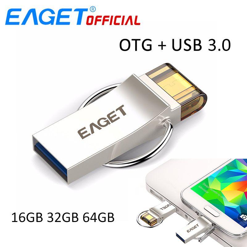 EAGET USB Flash Drive 32 GB USB 3.0 Pen Drive 16 GB Pendrive 64 GB Micro USB OTG U Disque De Stockage USB Bâton Pour Samsung Téléphones PC