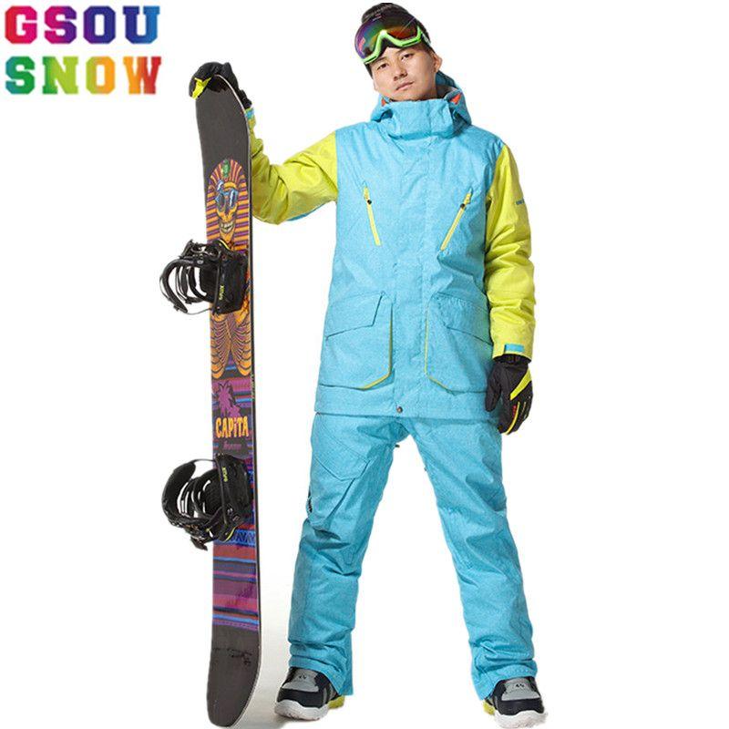 Gsou Schnee Professionelle Ski Anzüge Männer Snowboard Jacken Winter Ski Hose Wasserdicht Atmungsaktiv Berg Skifahren Snowboarden Sets