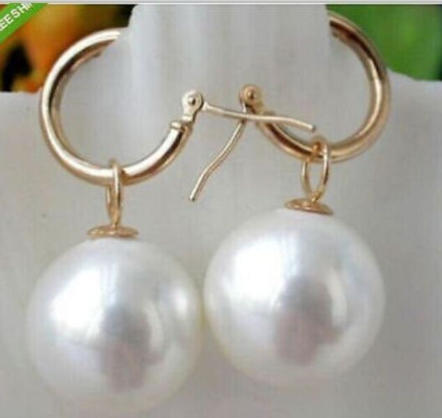 charming south sea AAA10-11mm round white pearl dangle earring 14k