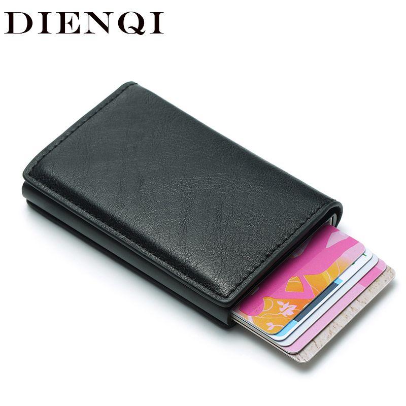 DIENQI Rfid porte-carte hommes portefeuilles argent sac mâle Vintage noir court sac à main 2018 petit cuir mince portefeuilles Mini portefeuilles mince