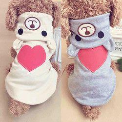 Perro caliente ropa para perros pequeños cachorro algodón Hoodies ropa para perros ropa de invierno pijamas amor oso traje 35 S1