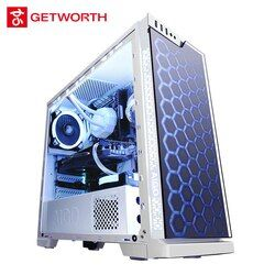 GETWORTH S8 Desktop Computer I7 8700 GTX1070 120G SSD 1TB HDD Full White Series Win10 PUBG 8G RAM Gigabyte Z370 Water Cooling