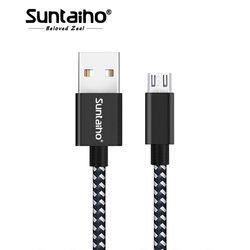 Cable micro USB, suntaiho 5V2. 4A nylon trenzado carga rápida teléfono móvil USB Cable cargador para Samsung/xiaomi/LG/Huawei/meizu