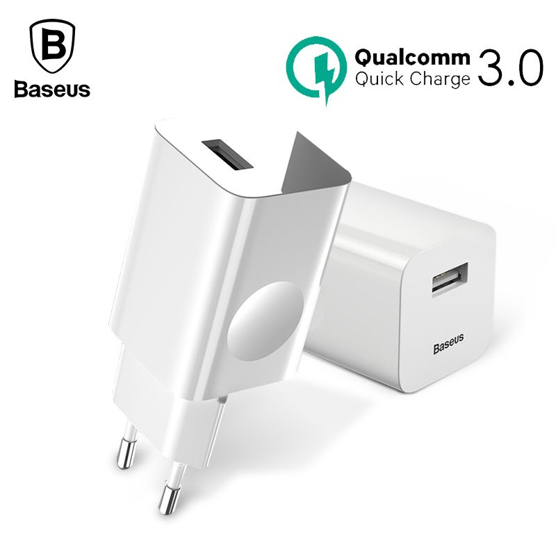 Baseus 24W Quick Charge 3.0 USB Charger For Samsung Xiaomi Huawei Fast Charging QC3.0 Travel Mobile Phone Charger EU US Plug
