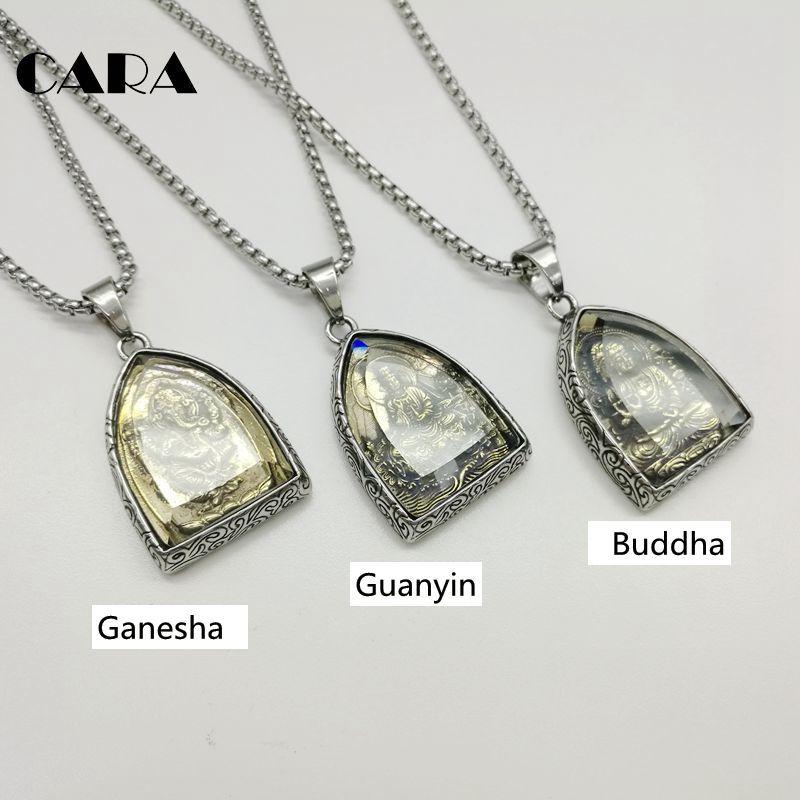 2019 nouveau collier de déclaration Vintage pendentif de bouddha Bouddhiste Collier Bouddha Religieuse collier en acier inoxydable Bijoux CAGF0313