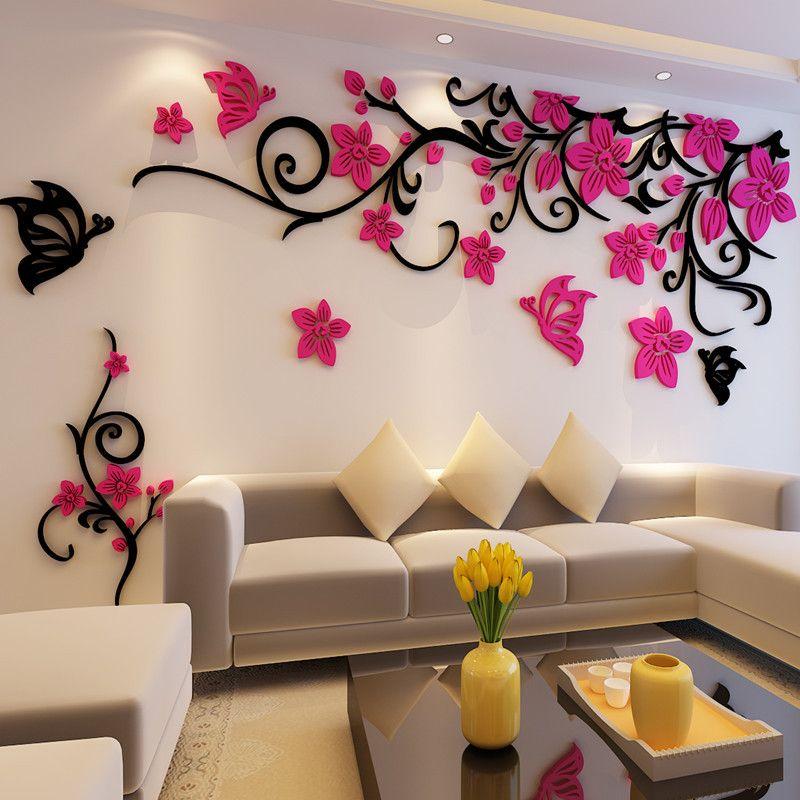 Fleur cristal en trois dimensions arbre stickers muraux acrylique canapé stickers muraux décor pour la maison bricolage auto-adhésif amovible