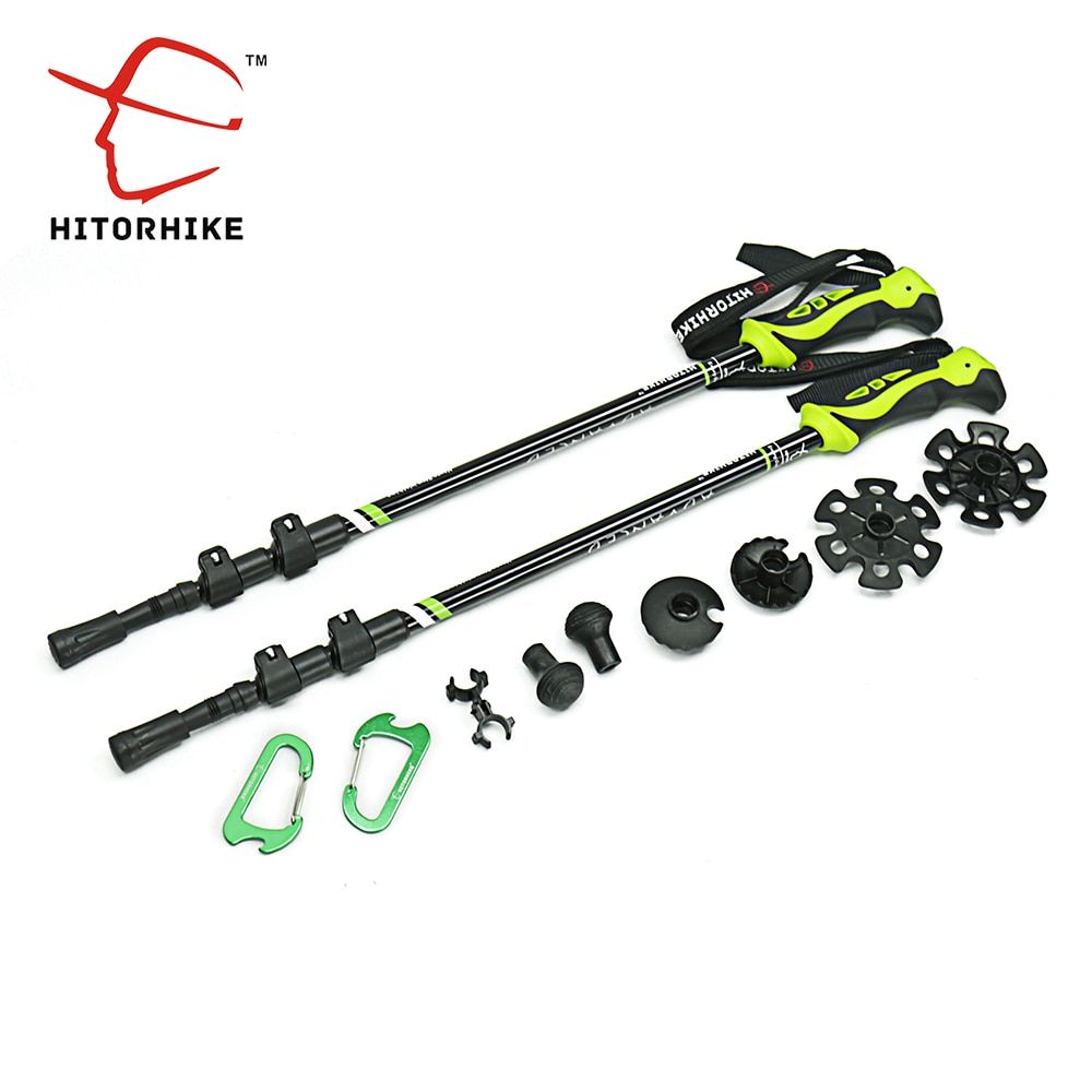 7075 Aluminum Alloy walking stick Adjustable 3 Sections Telescopic sticks for Nordic walking Hiking Stick trekking poles basket