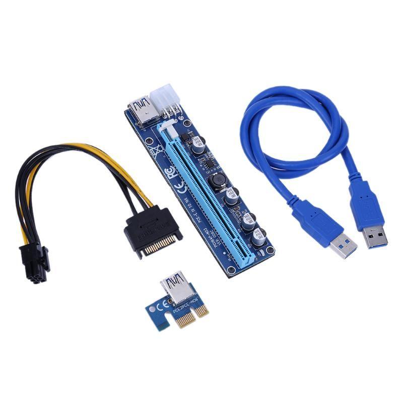 60CM PCI-E 1X To 16X 008C PCI Express Extender Riser Card + USB 3.0 Cable PCI-E Sata 15 Pin To 6 Pin Power For BTC Miner Machine