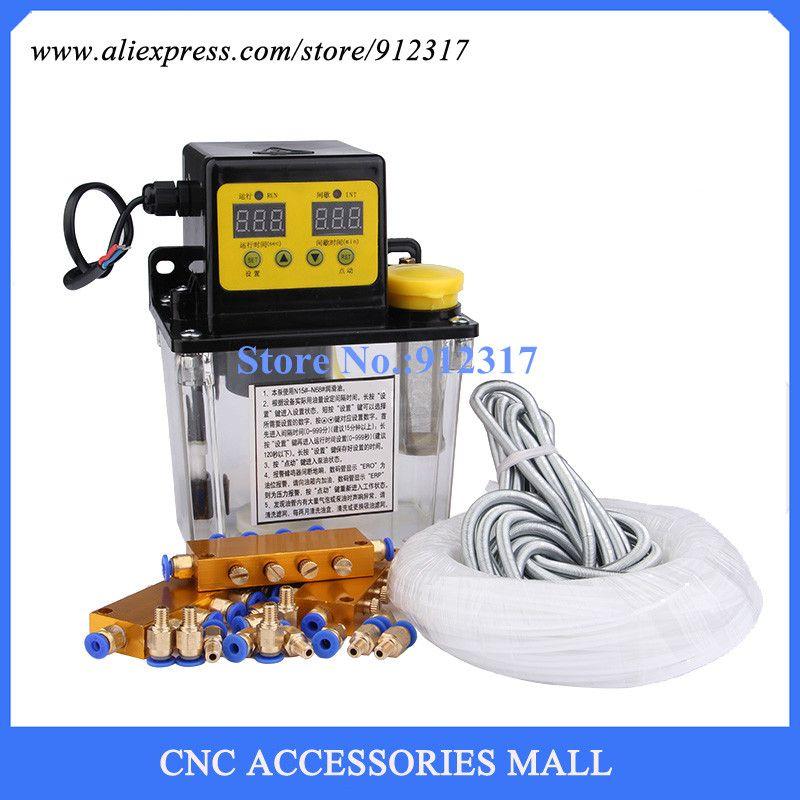 Ensemble complet 1L AC pompe de lubrification automatique électrique CNC minuterie électronique numérique pompe à huile AC220V