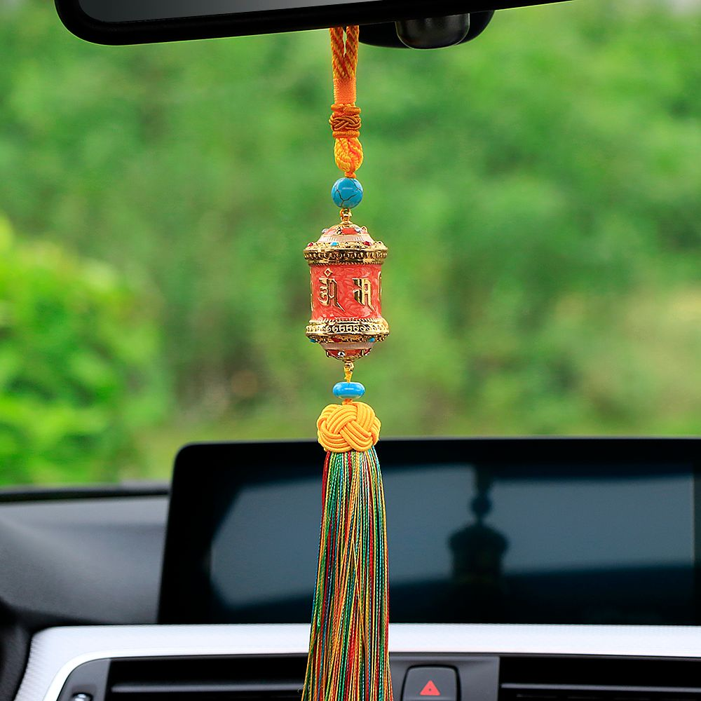 Car Pendant Buddhist Tibetan Prayer Wheel With Tassel Auto Interior Rearview Mirrorr Decoration Hanging Ornaments Accessories