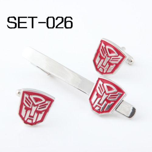 Nouveauté Intéressants Clips Cravate et Boutons de Manchette Set Peuvent être mélangés Livraison Gratuite Set 026 Rouge Autobots Superhero Série