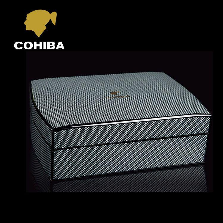 Luxury Black Carbon Fiber Cedar Wood Cuban Cigar Humidor MINI Storage Box with Hygrometer Humidifier