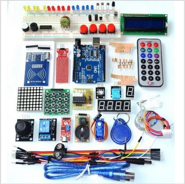 Livraison gratuite mise à niveau Version avancée Kit de démarrage la trousse d'apprentissage RFID LCD 1602 pour Arduino UNO R3