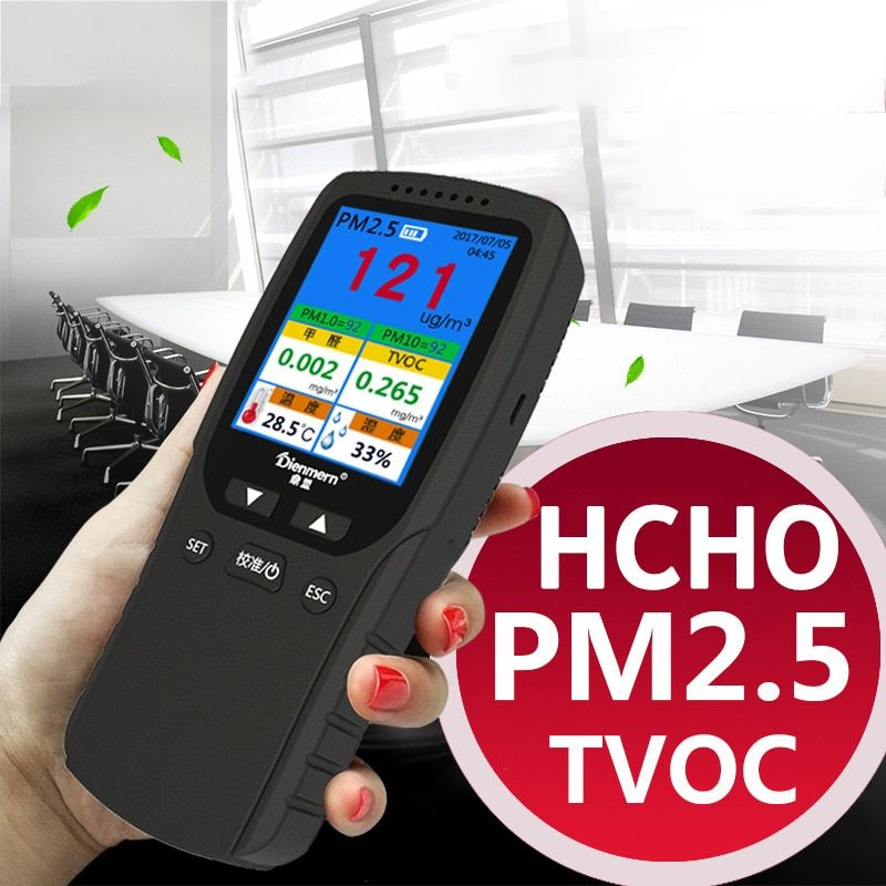 Formaldehyde Gas Analyzer HCHO PM1.0 PM2.5 PM10 TVOC Temperature humidity Meter Thermometer Hygrometer Gas Detector Monitor
